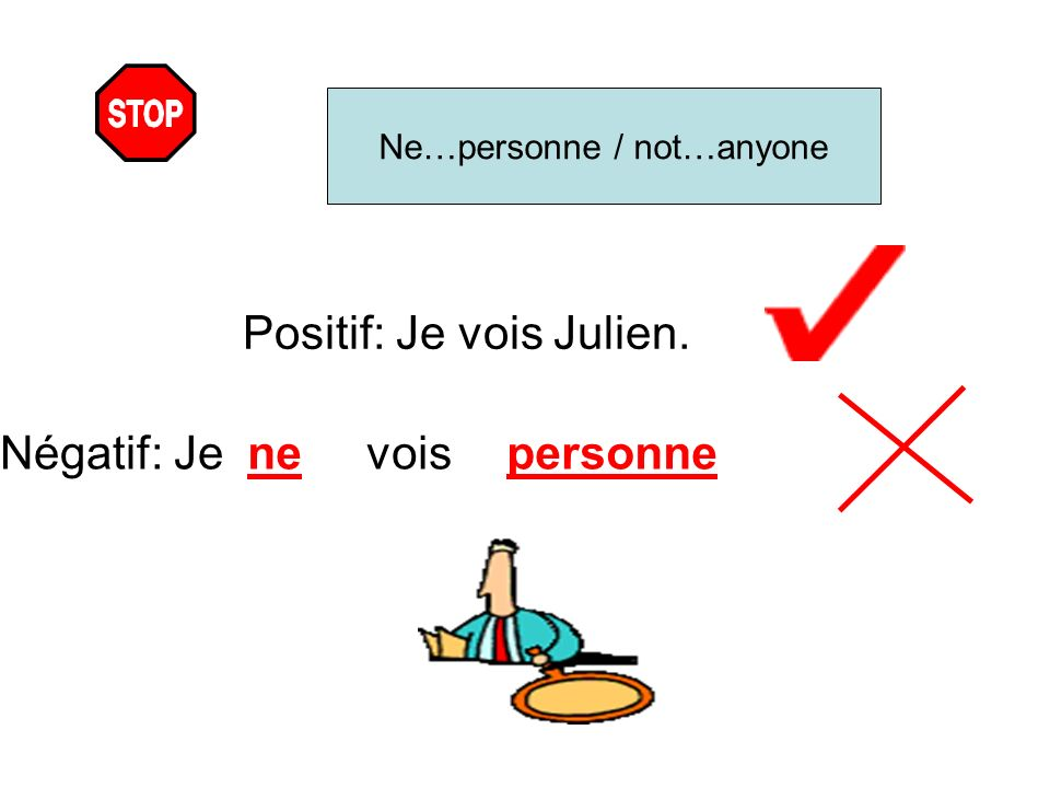 Positif: Je vois Julien.