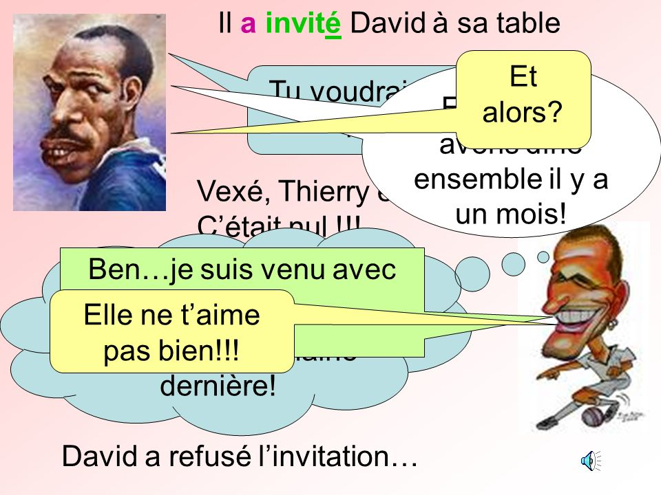 Il a invité David à sa table