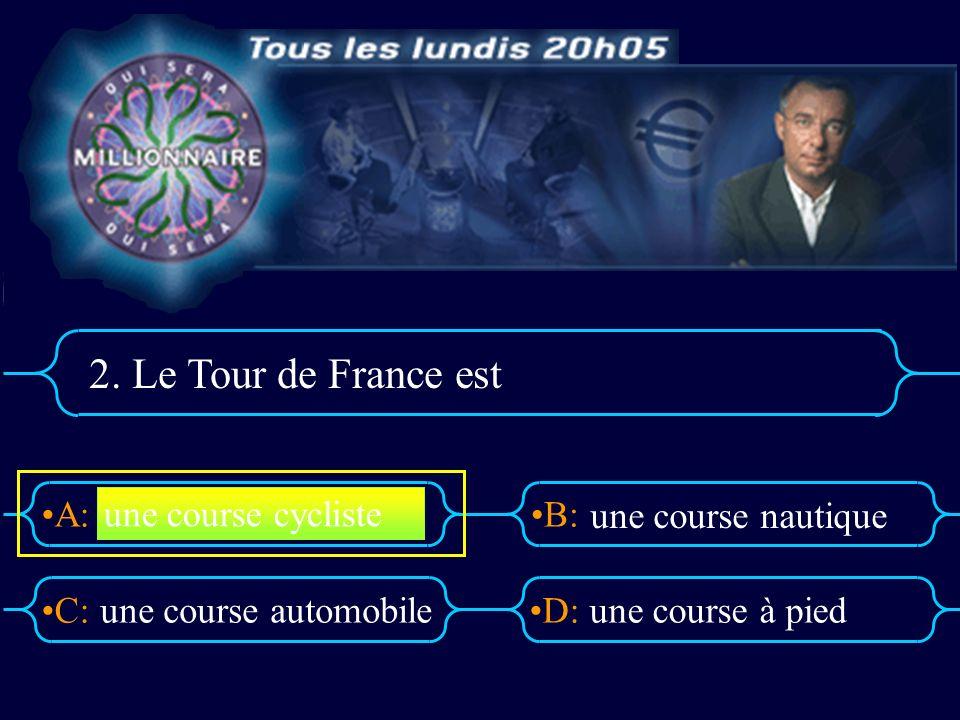 2. Le Tour de France est une course cycliste une course nautique