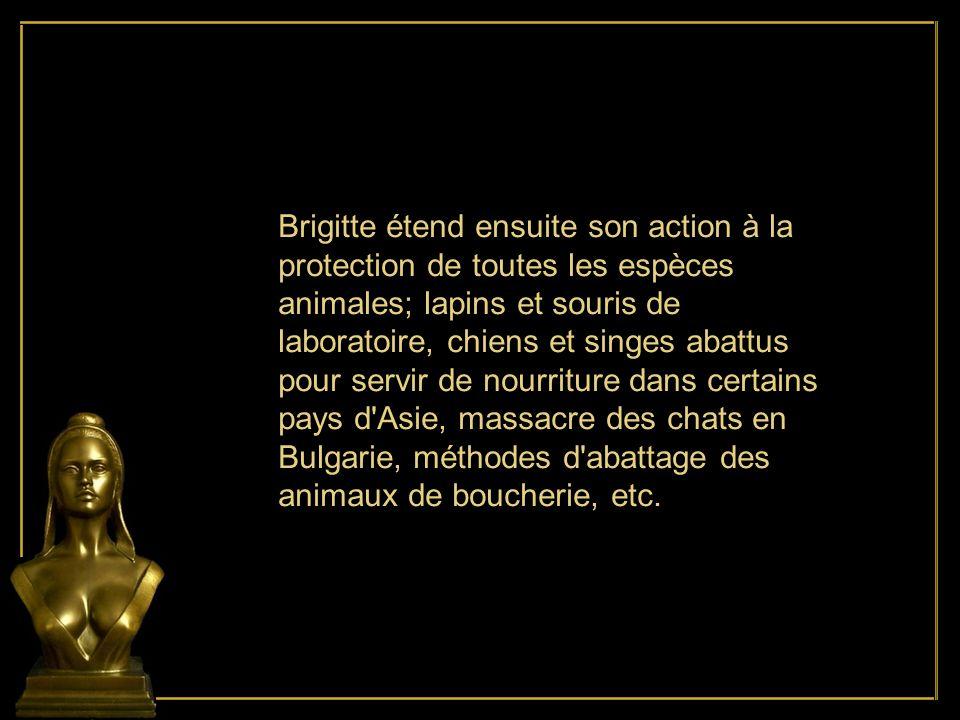 Brigitte étend ensuite son action à la protection de toutes les espèces animales; lapins et souris de laboratoire, chiens et singes abattus pour servir de nourriture dans certains pays d Asie, massacre des chats en Bulgarie, méthodes d abattage des animaux de boucherie, etc.
