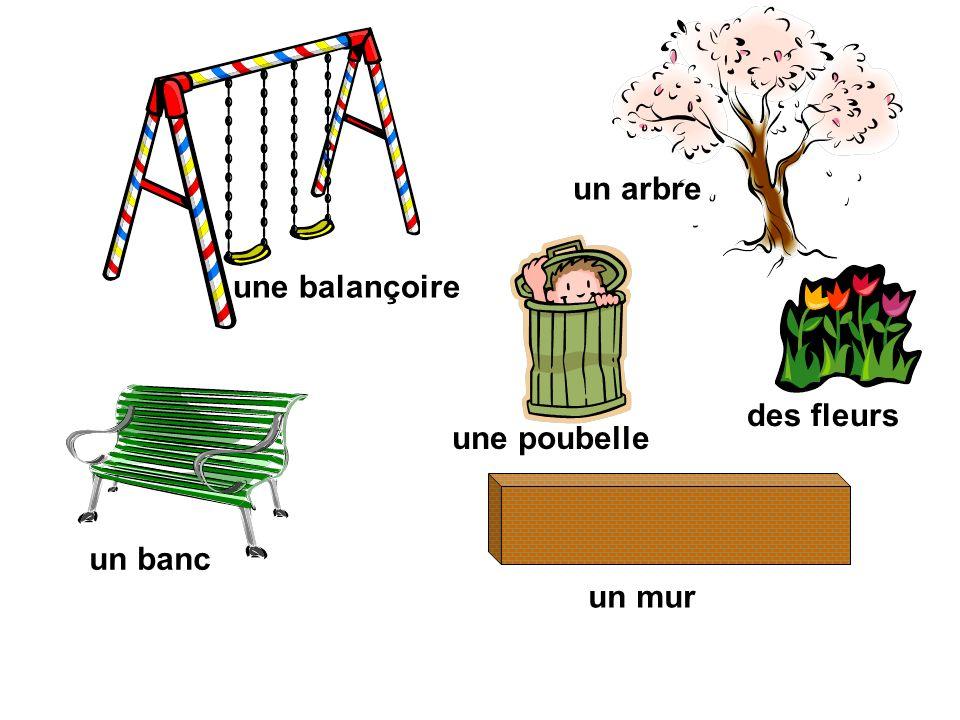 un arbre une balançoire des fleurs une poubelle un banc un mur