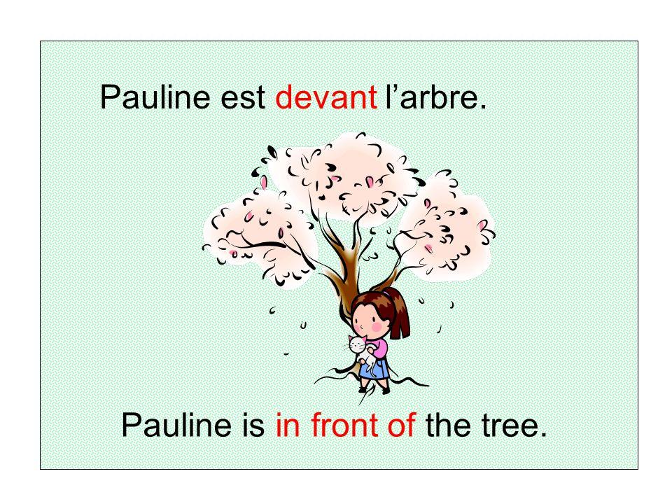 Pauline est devant l'arbre.