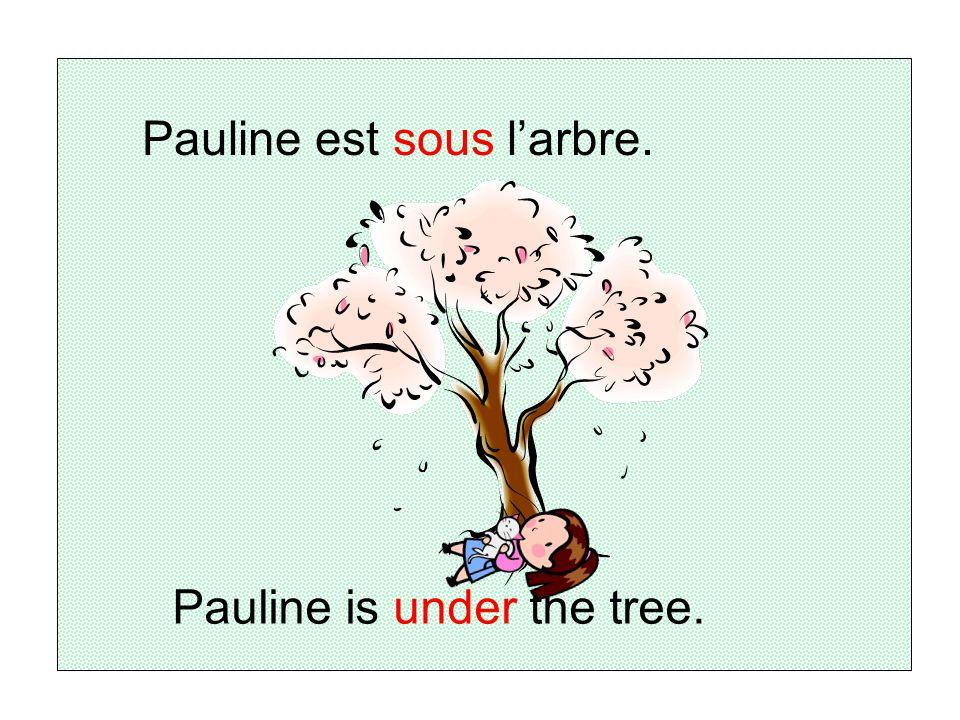 Pauline est sous l'arbre.