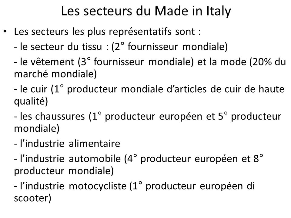 Les secteurs du Made in Italy