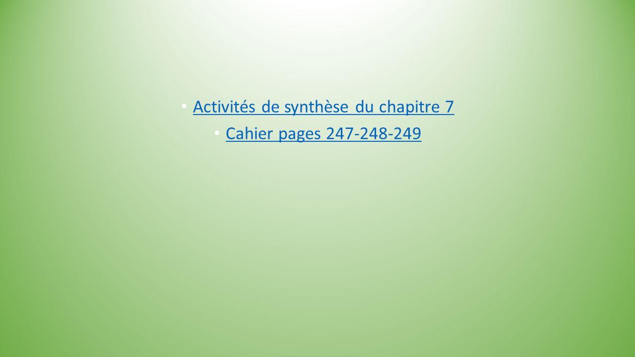 Activités de synthèse du chapitre 7