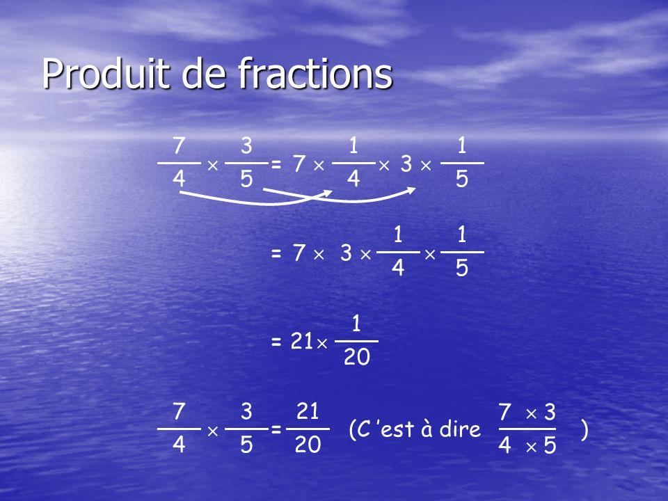 Produit de fractions 3 5  7 4 1 4 = 7  1 5  3  1 5 = 7  4 3  