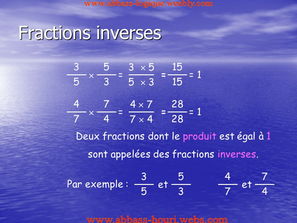 Fractions inverses www.abbass-logique.weebly.com