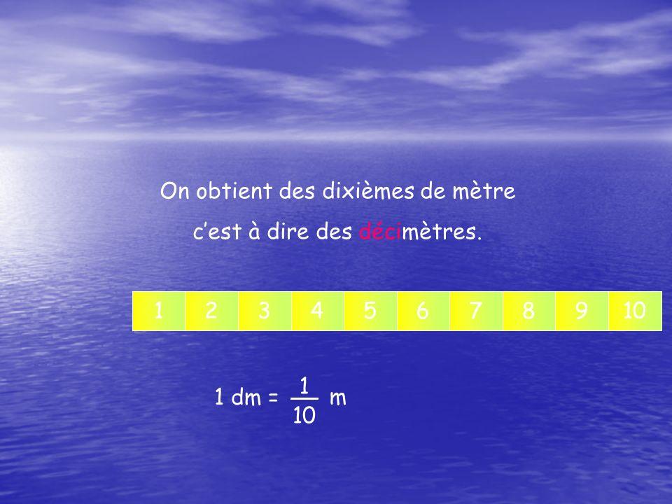 On obtient des dixièmes de mètre c'est à dire des décimètres.