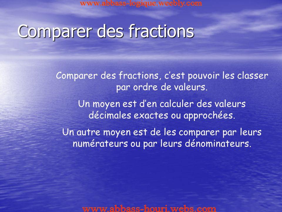 Comparer des fractions