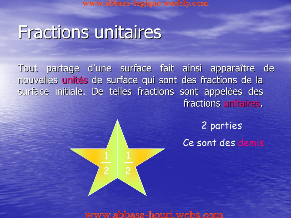 Fractions unitaires www.abbass-logique.weebly.com