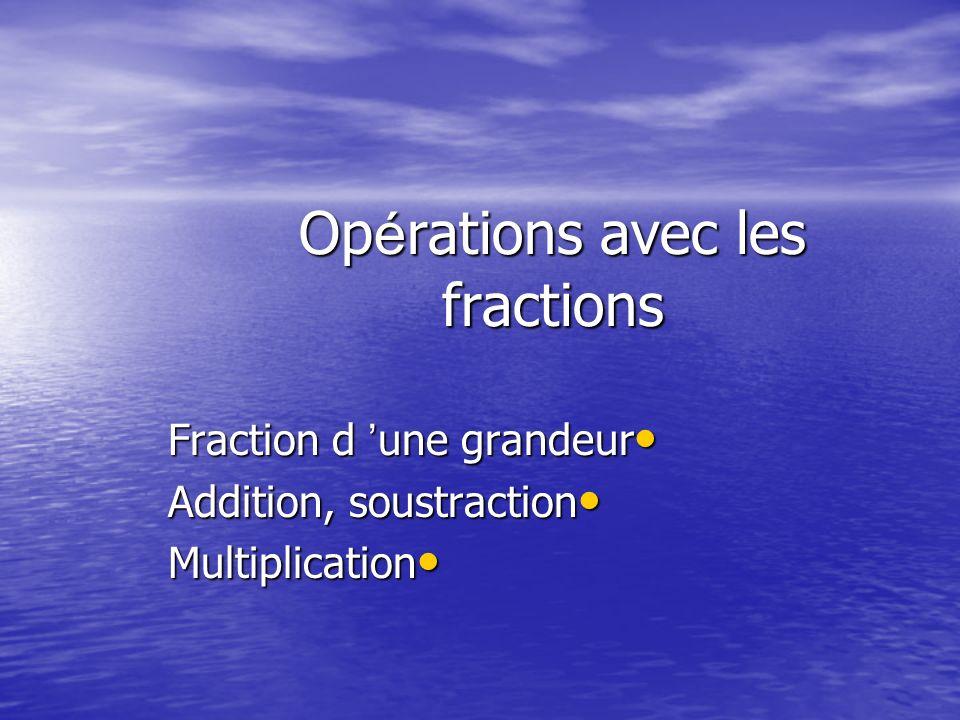 Opérations avec les fractions