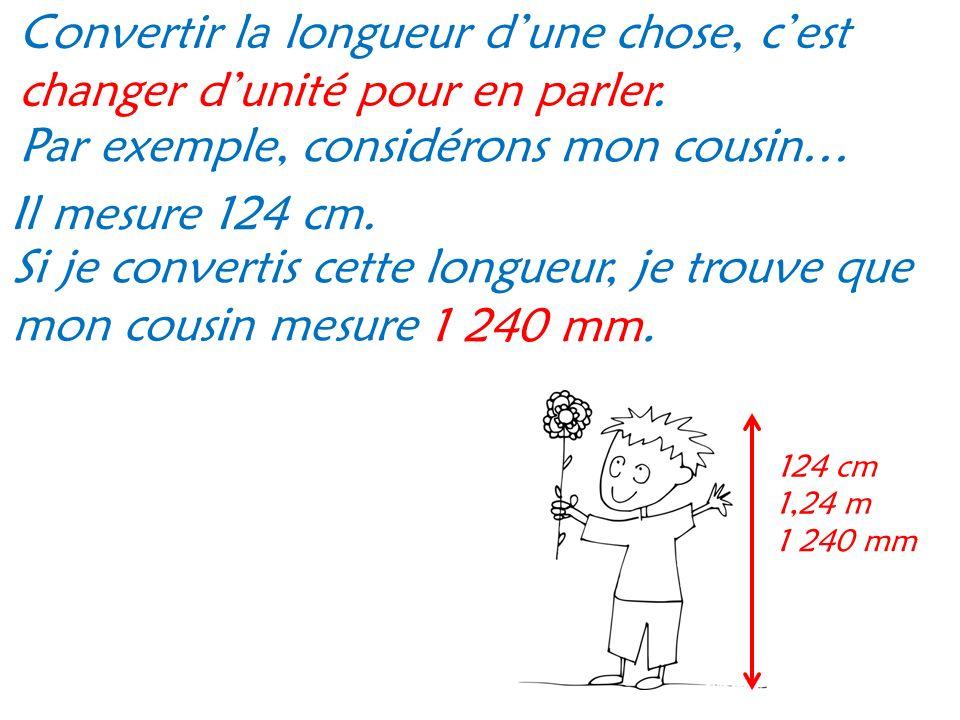 Par exemple, considérons mon cousin… Il mesure 124 cm.