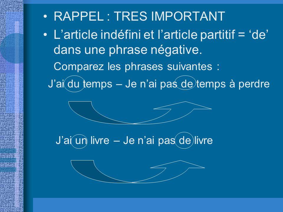 RAPPEL : TRES IMPORTANT