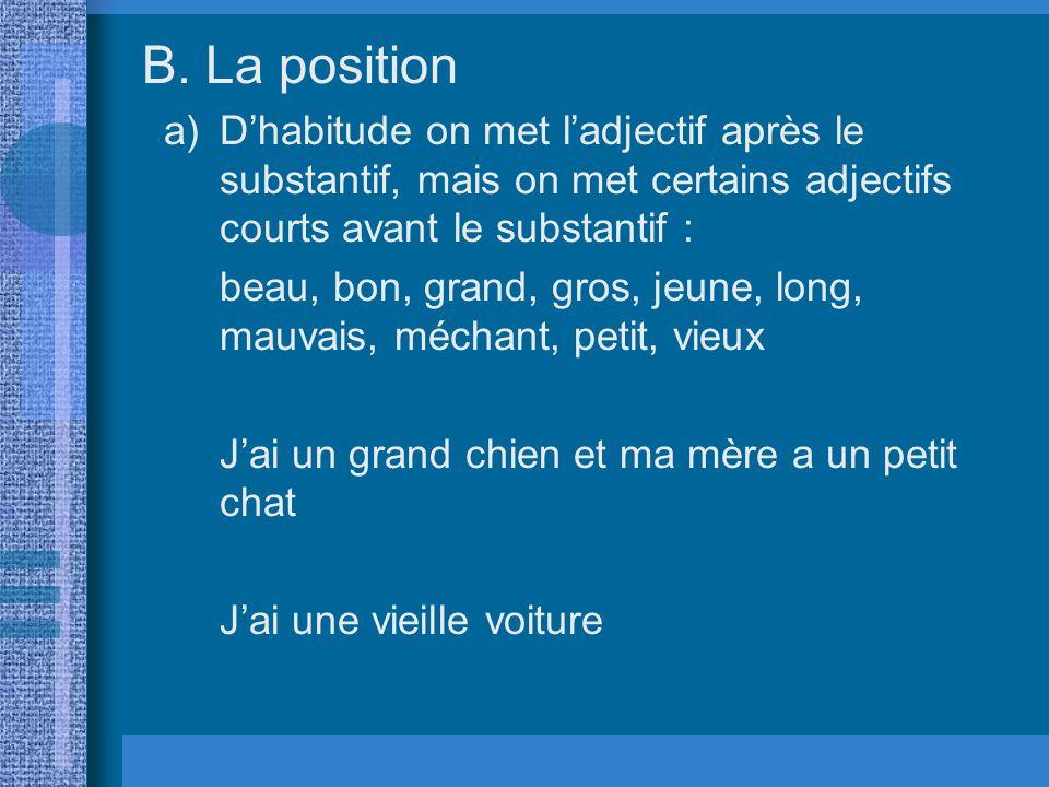 La position D'habitude on met l'adjectif après le substantif, mais on met certains adjectifs courts avant le substantif :