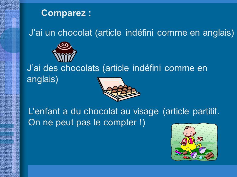 J'ai un chocolat (article indéfini comme en anglais)