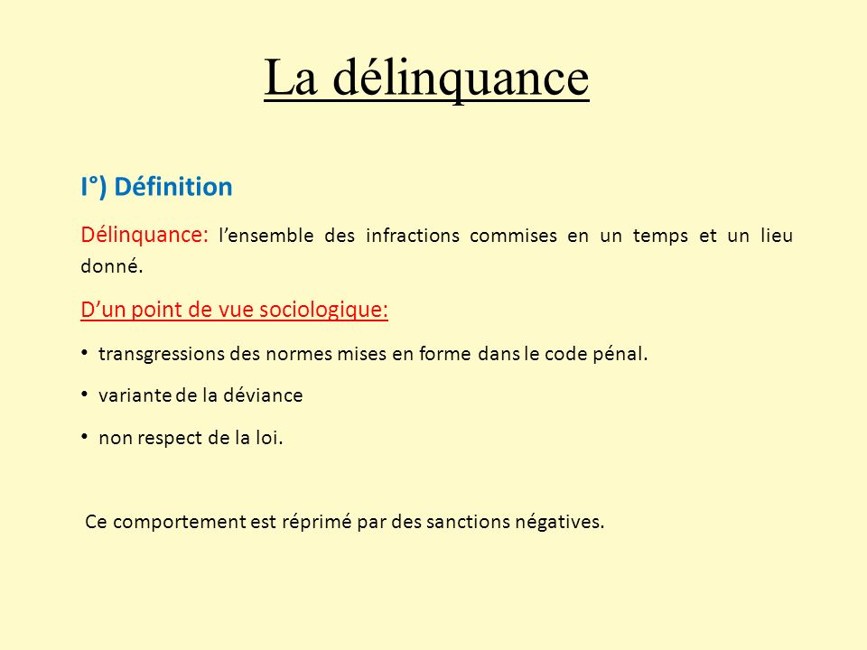 La d linquance i d finition ppt video online t l charger for Definition de l