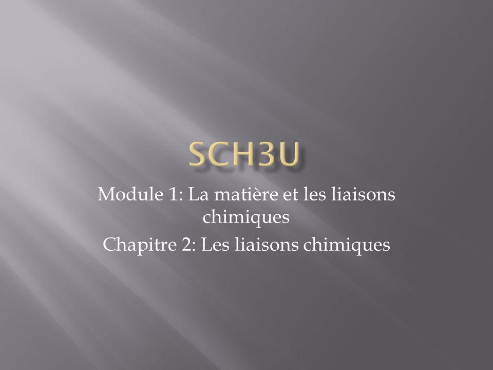 SCH3U Module 1: La matière et les liaisons chimiques