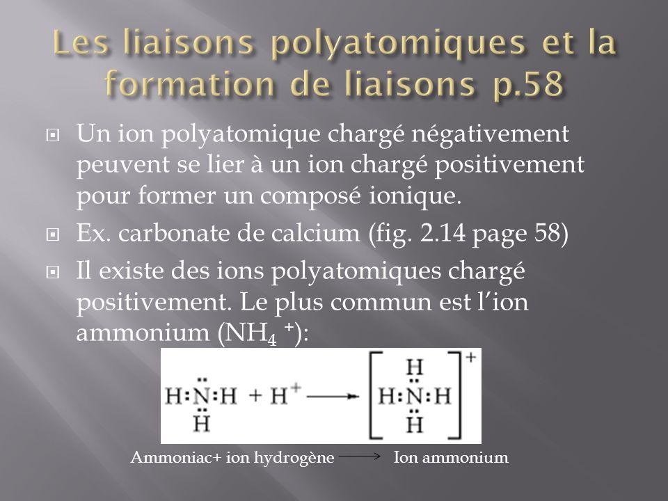 Les liaisons polyatomiques et la formation de liaisons p.58