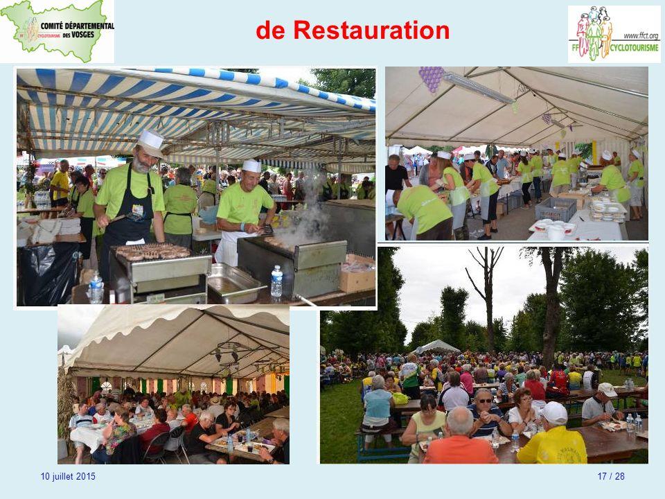 de Restauration 10 juillet 2015