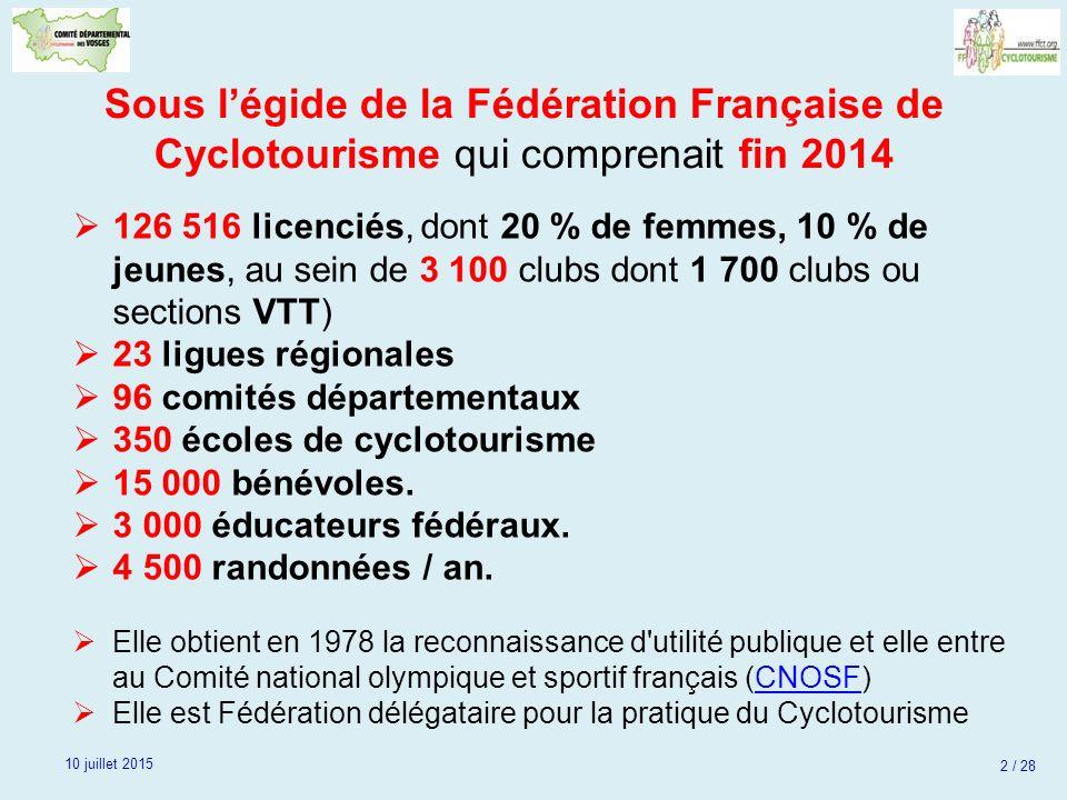 Sous l'égide de la Fédération Française de Cyclotourisme qui comprenait fin 2014