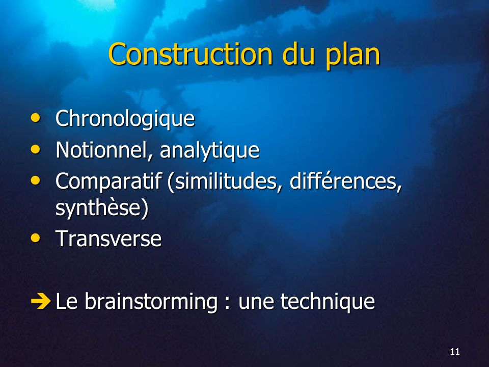 Construction du plan Chronologique Notionnel, analytique