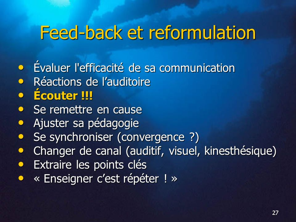 Feed-back et reformulation