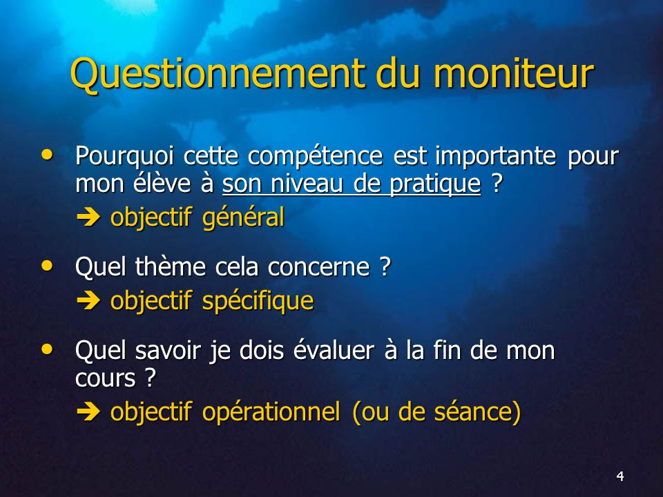 Questionnement du moniteur