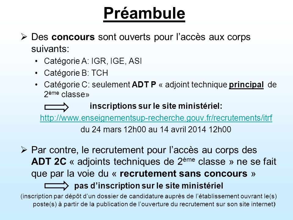 R union d information concours itrf ppt t l charger - Grille indiciaire adjoint technique 2014 ...