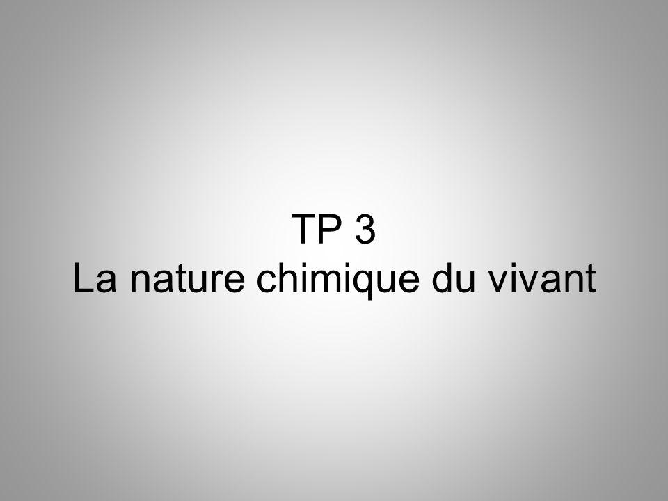 TP 3 La nature chimique du vivant