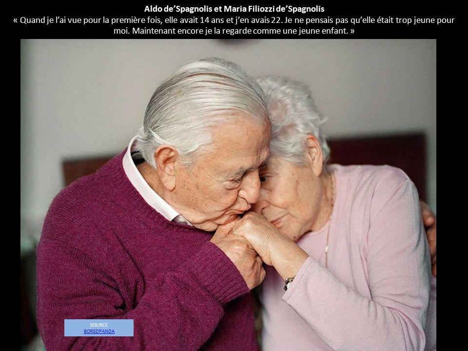 Aldo de'Spagnolis et Maria Filiozzi de'Spagnolis « Quand je l'ai vue pour la première fois, elle avait 14 ans et j'en avais 22. Je ne pensais pas qu'elle était trop jeune pour moi. Maintenant encore je la regarde comme une jeune enfant. »