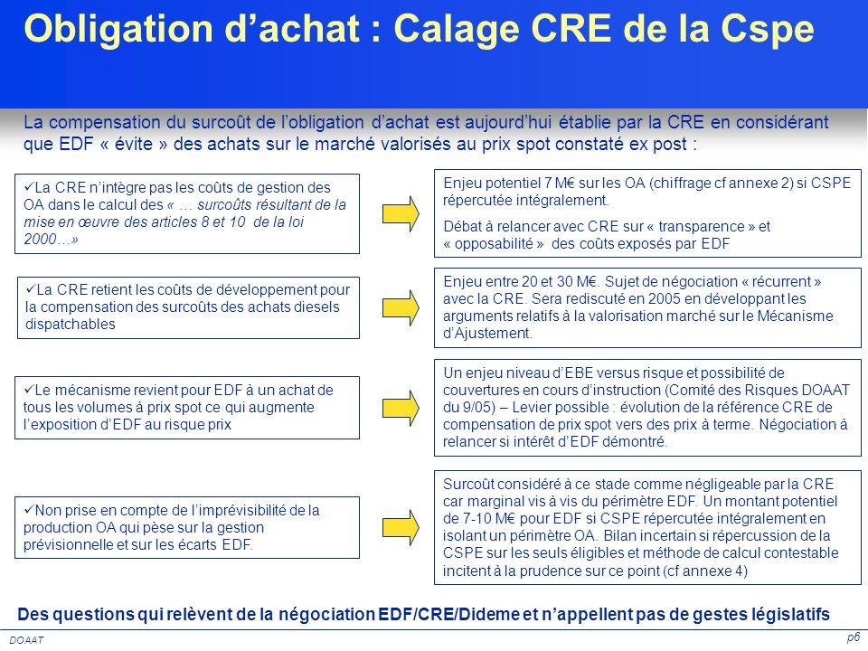 Obligation d'achat : Calage CRE de la Cspe