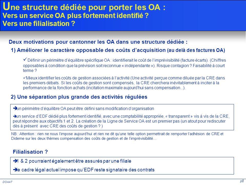Une structure dédiée pour porter les OA : Vers un service OA plus fortement identifié Vers une filialisation