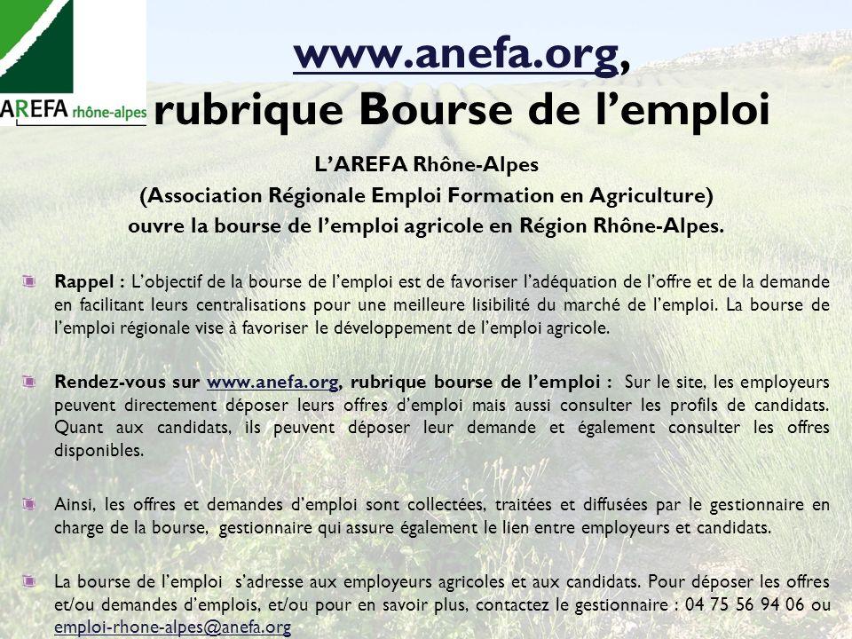 www.anefa.org, rubrique Bourse de l'emploi
