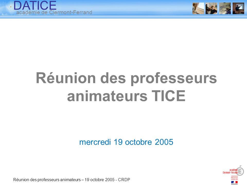 Réunion des professeurs animateurs TICE