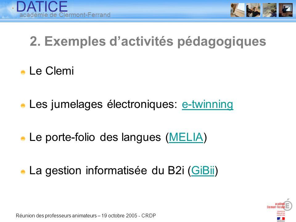 2. Exemples d'activités pédagogiques