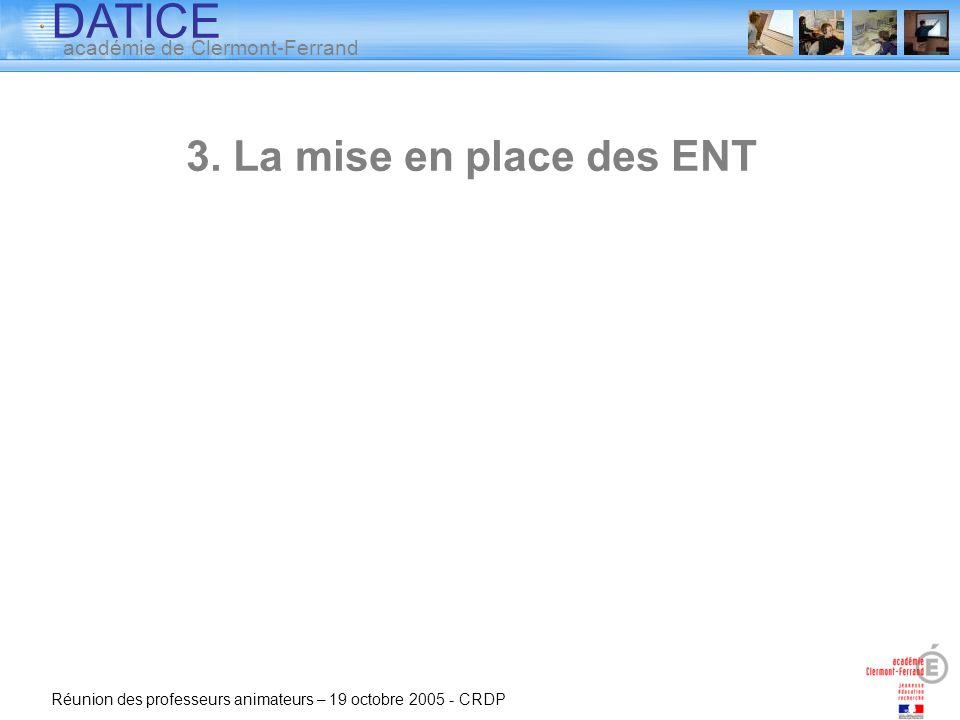 3. La mise en place des ENT Réunion des professeurs animateurs – 19 octobre 2005 - CRDP