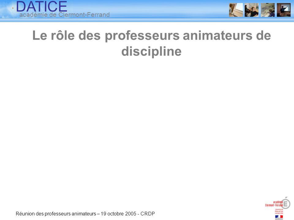 Le rôle des professeurs animateurs de discipline