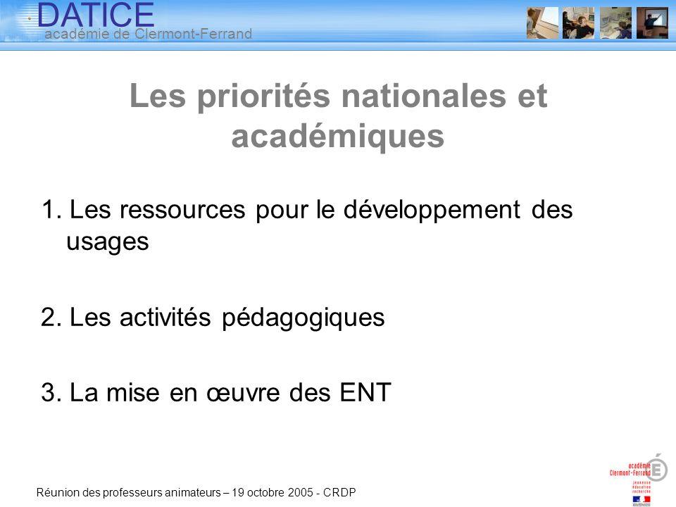 Les priorités nationales et académiques