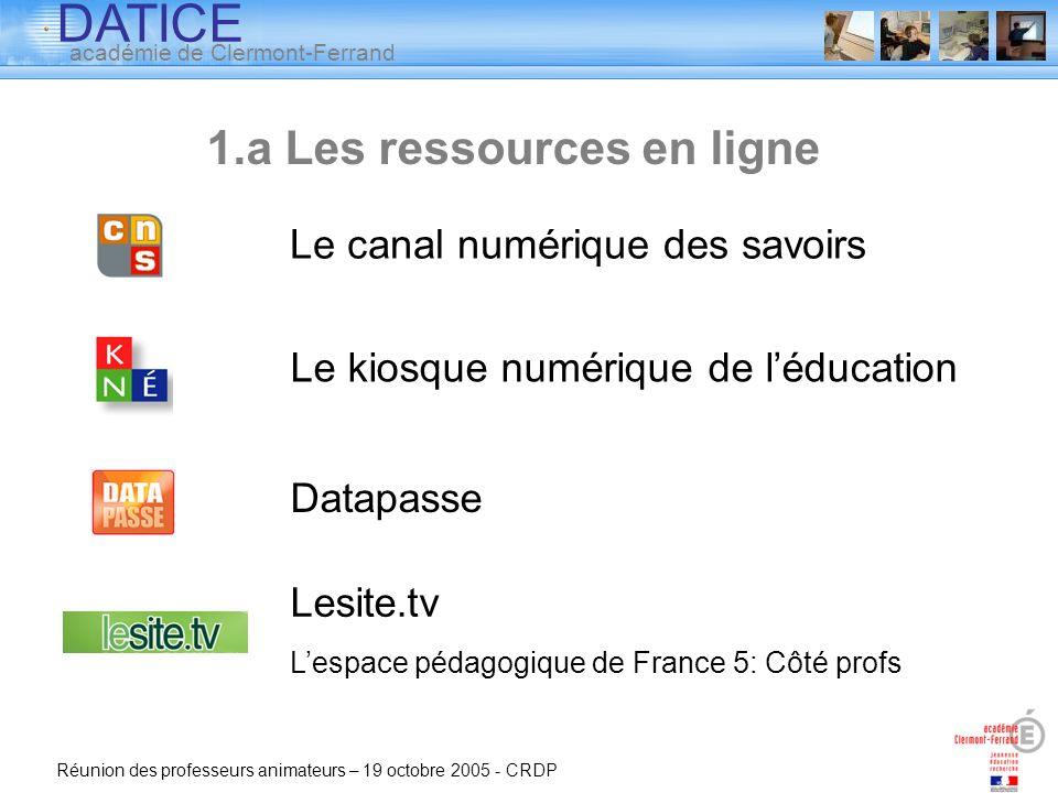 1.a Les ressources en ligne