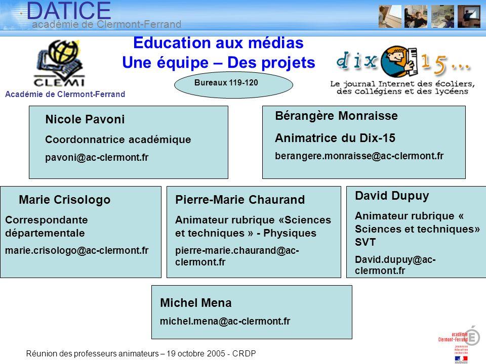 Education aux médias Une équipe – Des projets