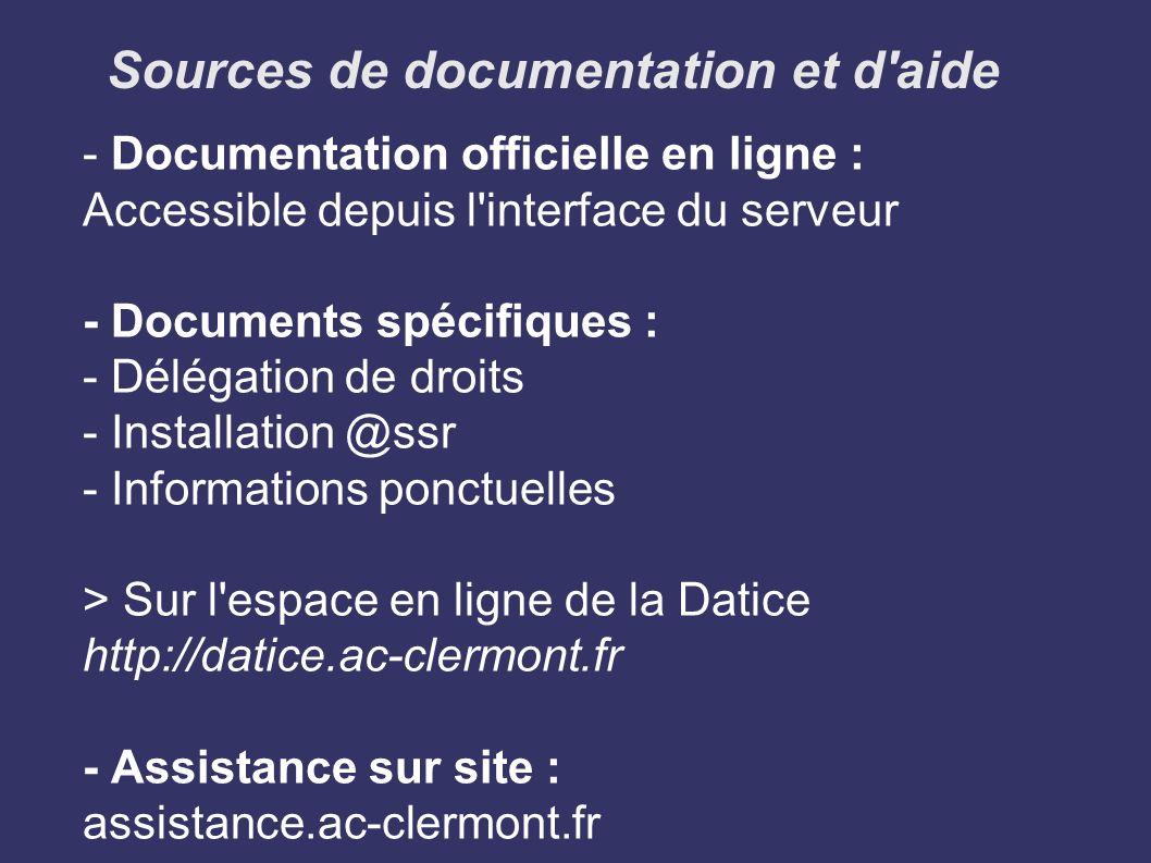 Sources de documentation et d aide
