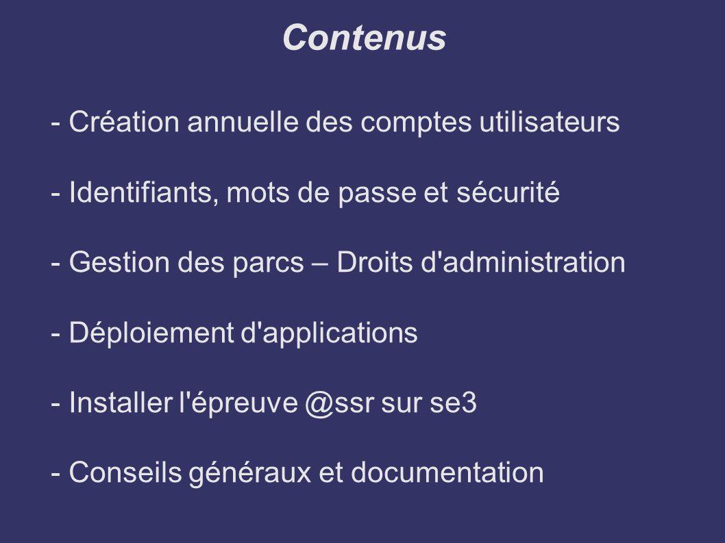 Contenus - Création annuelle des comptes utilisateurs