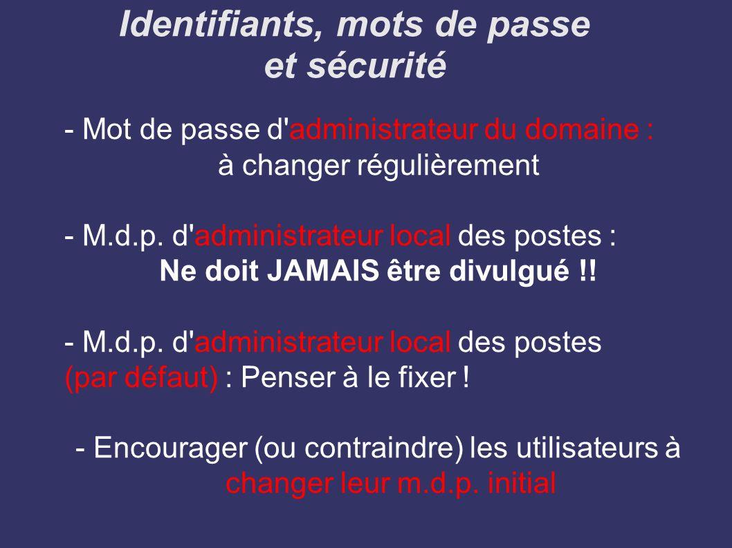 Identifiants, mots de passe et sécurité
