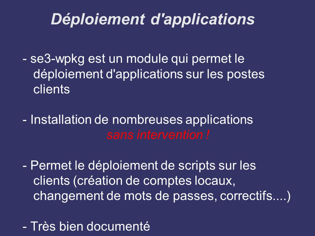Déploiement d applications