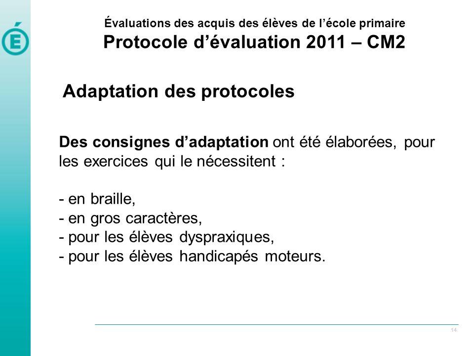 Protocole d'évaluation 2011 – CM2
