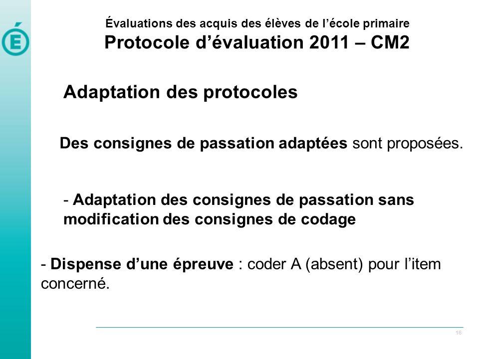 Des consignes de passation adaptées sont proposées.