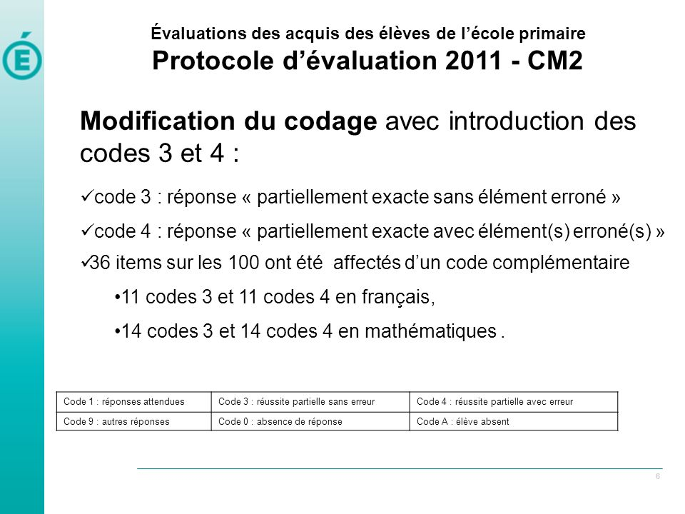 Modification du codage avec introduction des codes 3 et 4 :