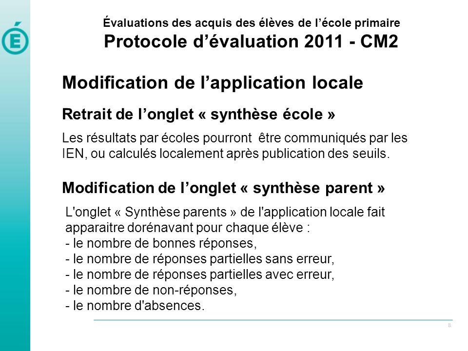 Protocole d'évaluation 2011 - CM2