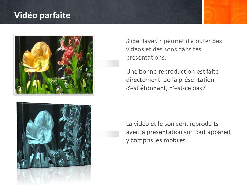 Vidéo parfaite SlidePlayer.fr permet d'ajouter des vidéos et des sons dans tes présentations.