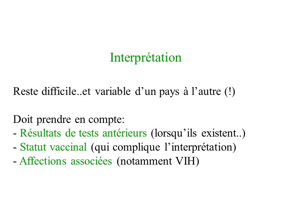 IDR Interprétation. Reste difficile..et variable d'un pays à l'autre (!) Doit prendre en compte: